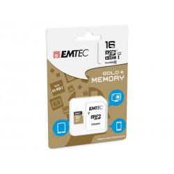 MicroSDHC 16Go EMTEC +Adaptateur CL10 Gold+ UHS-I 85MB/s - Sous blister