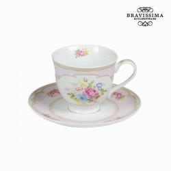 Tasse à thé avec soucoupe bouquet rose - Collection Kitchen's Deco by Bravissima Kitchen