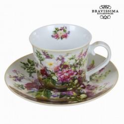 Tasse avec soucoupe bouquet natural - Collection Kitchen's Deco by Bravissima Kitchen