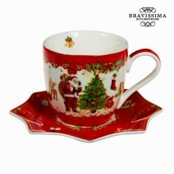 Tasse à thé et soucoupe noël rouge by Bravissima Kitchen