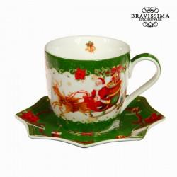 Tasse à thé et soucoupe noël vert by Bravissima Kitchen