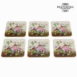 Lot de 6 dessous de verre bouquet natural - Collection Kitchen's Deco by Bravissima Kitchen