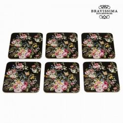 Lot de 6 dessous de verre bloom black - Collection Kitchen's Deco by Bravissima Kitchen