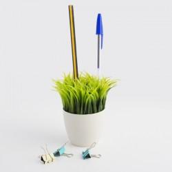 Porte-Crayons Pot de Fleurs avec Herbe