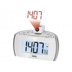 Radio réveil AEG MRC 4119 P N avec projection de l´heure - Blanc