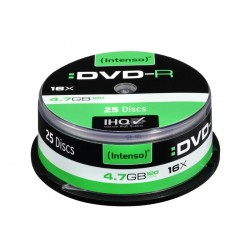 Pack de 25 DVD-R 4.7 GB 16x Speed Intenso