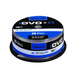 Pack de 25 DVD+R 4.7 GB 16x Speed Intenso