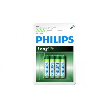 Pack de 4 piles Philips Longlife R03 Micro AAA
