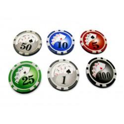 Malette de poker en alu + 500 jetons (jetons marqués de 11.5g DELUXE)