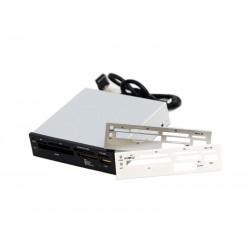 Lecteur de carte 3.5 USB 2.0 (maxi 480 MBit/s) avec panneaux interchangeables noir/argenté/blanc