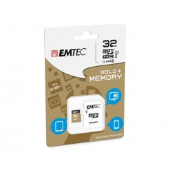 MicroSDHC 32Go EMTEC +Adapter CL10 Gold+ UHS-I 85MB/s - Sous blister