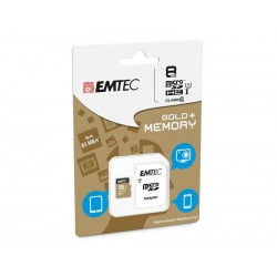 MicroSDHC 8Go EMTEC +Adapter CL10 Gold+ UHS-I 85MB/s - Sous blister