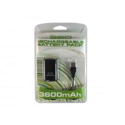 Batterie rechargeable 3600mAh pour Xbox 360 (noir)