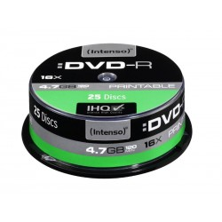Pack de 25 DVD-R 4.7 GB 16x Speed Intenso imprimable