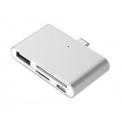Lecteur de carte USB Type-C pour microSD, SD, USB, USB Micro (Argenté)