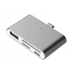 Lecteur de carte USB Type-C pour microSD, SD, USB, USB Micro (Gris)