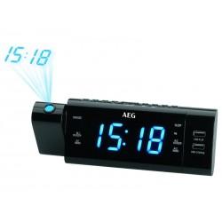 Radio réveil AEG avec projection de l´heure MRC 4159 P - Noir
