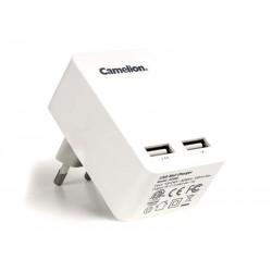Adaptateur secteur double USB Camelion blanc (AD569)