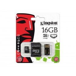 MicroSDHC 16Go Kingston CL10 Multi Kit (2x adaptateurs)