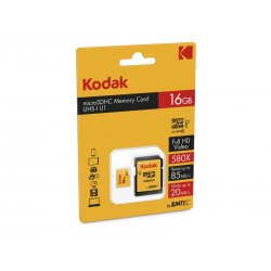 MicroSDHC 16Go Kodak +Adaptateur CL10 UHS-I 85MB/s - Sous blister