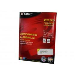 350 étiquettes d´adresse EMTEC (25 feuilles x 14 étiquettes)