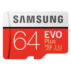 MicroSDHC 64Go Samsung +SDHC Adaptateur CL10 EVO Plus