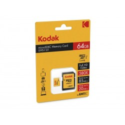 MicroSDXC 64Go Kodak +Adaptateur CL10 UHS-I 85MB/s - Sous blister