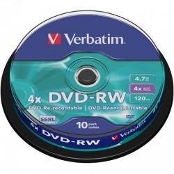DVD-RW 4.7GB Verbatim 4x 10er Cakebox 43552