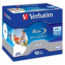 BD-R 25GB Verbatim 6x Inkjet white Full Surface 10er Jewel Case 43713