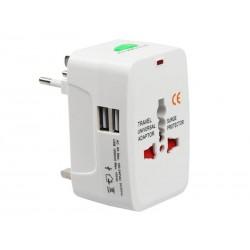 Adaptateur de voyage EU-UK-US-CN-JAP-AU-SP + 2x Ports USB (C110B)