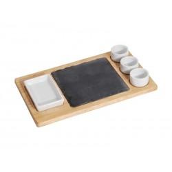 MK Bamboo DÜSSELDORF - Set Chip & Dip avec planche à découper (6 pièces)