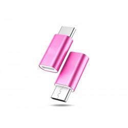 Adaptateur microUSB - USB Type-C (Rose/Rose foncé)